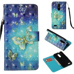 Gold Butterfly 3D Painted Leather Wallet Case for LG K10 (2018)