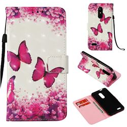 Rose Butterfly 3D Painted Leather Wallet Case for LG K10 (2018)