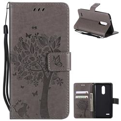 Embossing Butterfly Tree Leather Wallet Case for LG K10 (2018) - Grey