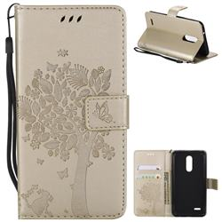 Embossing Butterfly Tree Leather Wallet Case for LG K10 (2018) - Champagne