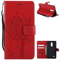 Embossing Butterfly Tree Leather Wallet Case for LG K10 (2018) - Red