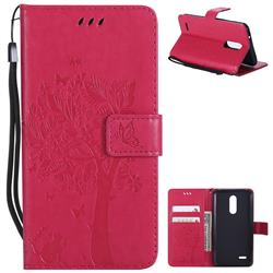 Embossing Butterfly Tree Leather Wallet Case for LG K10 (2018) - Rose