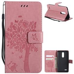 Embossing Butterfly Tree Leather Wallet Case for LG K10 (2018) - Pink