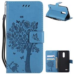 Embossing Butterfly Tree Leather Wallet Case for LG K10 (2018) - Blue
