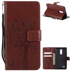 Embossing Butterfly Tree Leather Wallet Case for LG K10 (2018) - Brown