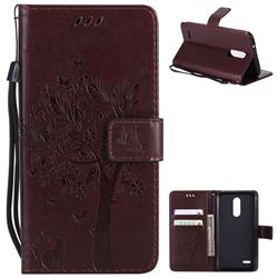 Embossing Butterfly Tree Leather Wallet Case for LG K10 (2018) - Coffee