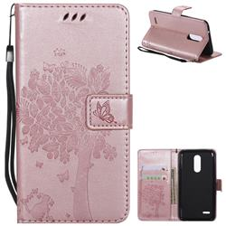 Embossing Butterfly Tree Leather Wallet Case for LG K10 (2018) - Rose Pink