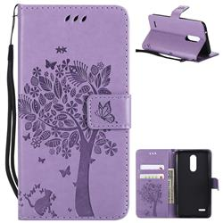 Embossing Butterfly Tree Leather Wallet Case for LG K10 (2018) - Violet