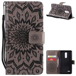 Embossing Sunflower Leather Wallet Case for LG K10 (2018) - Gray