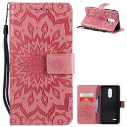 Embossing Sunflower Leather Wallet Case for LG K10 (2018) - Pink