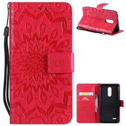 Embossing Sunflower Leather Wallet Case for LG K10 (2018) - Red