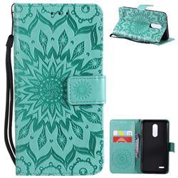 Embossing Sunflower Leather Wallet Case for LG K10 (2018) - Green