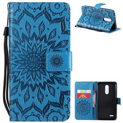 Embossing Sunflower Leather Wallet Case for LG K10 (2018) - Blue