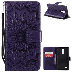 Embossing Sunflower Leather Wallet Case for LG K10 (2018) - Purple