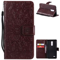 Embossing Sunflower Leather Wallet Case for LG K10 (2018) - Brown