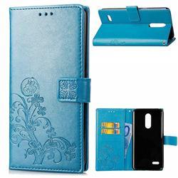 Embossing Imprint Four-Leaf Clover Leather Wallet Case for LG K10 (2018) - Blue