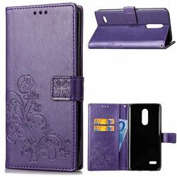 Embossing Imprint Four-Leaf Clover Leather Wallet Case for LG K10 (2018) - Purple