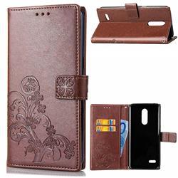 Embossing Imprint Four-Leaf Clover Leather Wallet Case for LG K10 (2018) - Brown