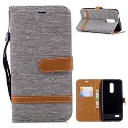 Jeans Cowboy Denim Leather Wallet Case for LG K10 (2018) - Gray