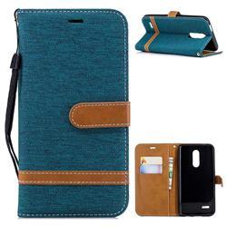 Jeans Cowboy Denim Leather Wallet Case for LG K10 (2018) - Green