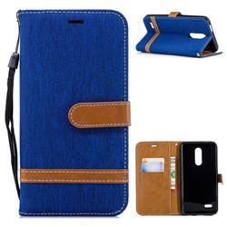 Jeans Cowboy Denim Leather Wallet Case for LG K10 (2018) - Sapphire