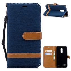 Jeans Cowboy Denim Leather Wallet Case for LG K10 (2018) - Dark Blue