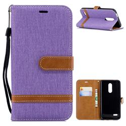 Jeans Cowboy Denim Leather Wallet Case for LG K10 (2018) - Purple