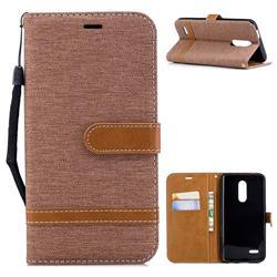 Jeans Cowboy Denim Leather Wallet Case for LG K10 (2018) - Brown