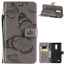 Embossing 3D Butterfly Leather Wallet Case for LG K10 (2018) - Gray