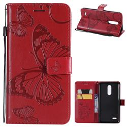 Embossing 3D Butterfly Leather Wallet Case for LG K10 (2018) - Red