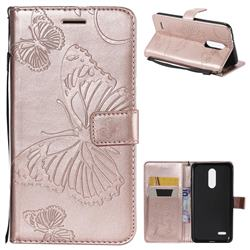 Embossing 3D Butterfly Leather Wallet Case for LG K10 (2018) - Rose Gold