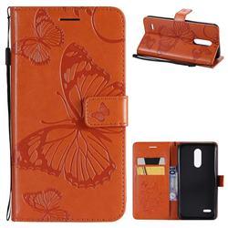 Embossing 3D Butterfly Leather Wallet Case for LG K10 (2018) - Orange