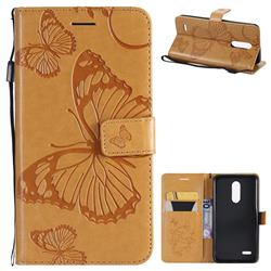 Embossing 3D Butterfly Leather Wallet Case for LG K10 (2018) - Yellow