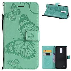 Embossing 3D Butterfly Leather Wallet Case for LG K10 (2018) - Green