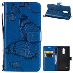 Embossing 3D Butterfly Leather Wallet Case for LG K10 (2018) - Blue