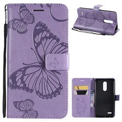 Embossing 3D Butterfly Leather Wallet Case for LG K10 (2018) - Purple