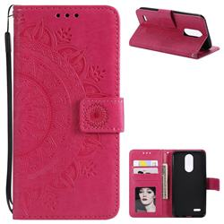 Intricate Embossing Datura Leather Wallet Case for LG K10 (2018) - Rose Red