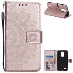 Intricate Embossing Datura Leather Wallet Case for LG K10 (2018) - Rose Gold