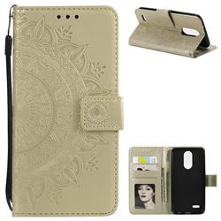 Intricate Embossing Datura Leather Wallet Case for LG K10 (2018) - Golden