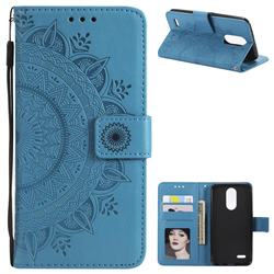 Intricate Embossing Datura Leather Wallet Case for LG K10 (2018) - Blue