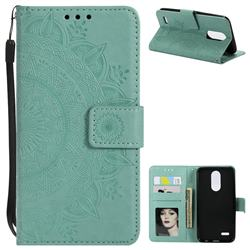 Intricate Embossing Datura Leather Wallet Case for LG K10 (2018) - Mint Green