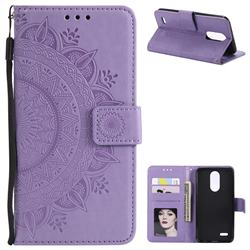 Intricate Embossing Datura Leather Wallet Case for LG K10 (2018) - Purple