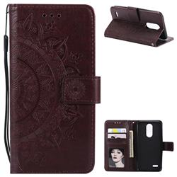 Intricate Embossing Datura Leather Wallet Case for LG K10 (2018) - Brown
