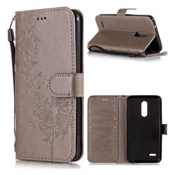 Intricate Embossing Dandelion Butterfly Leather Wallet Case for LG K10 (2018) - Gray