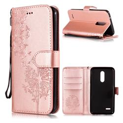 Intricate Embossing Dandelion Butterfly Leather Wallet Case for LG K10 (2018) - Rose Gold