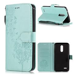 Intricate Embossing Dandelion Butterfly Leather Wallet Case for LG K10 (2018) - Green