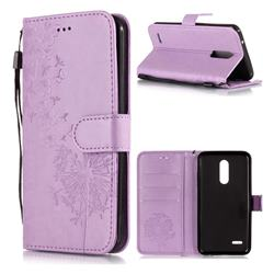 Intricate Embossing Dandelion Butterfly Leather Wallet Case for LG K10 (2018) - Purple