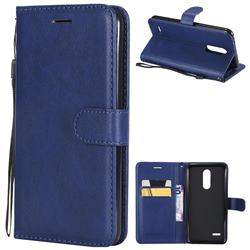 Retro Greek Classic Smooth PU Leather Wallet Phone Case for LG K10 (2018) - Blue