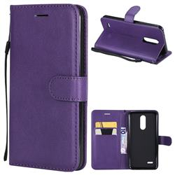 Retro Greek Classic Smooth PU Leather Wallet Phone Case for LG K10 (2018) - Purple