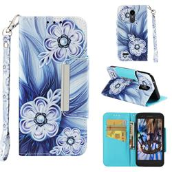 Button Flower Big Metal Buckle PU Leather Wallet Phone Case for LG K10 (2018)